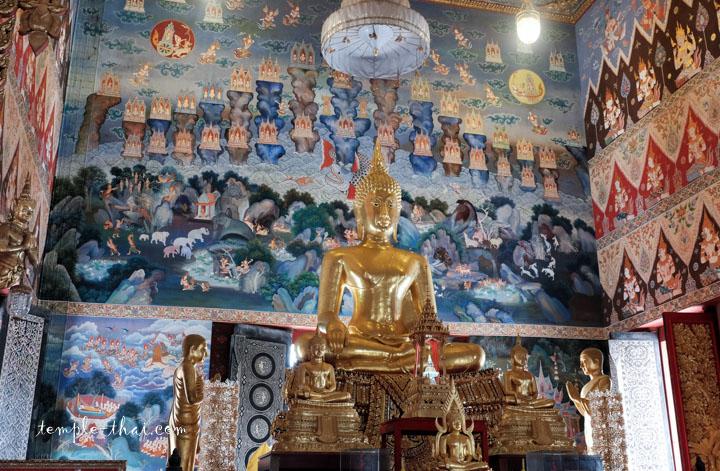 Derrière le bouddha, une représentation des Trois mondes