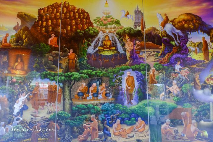 Peinture illustrant la vie des moines de la forêt