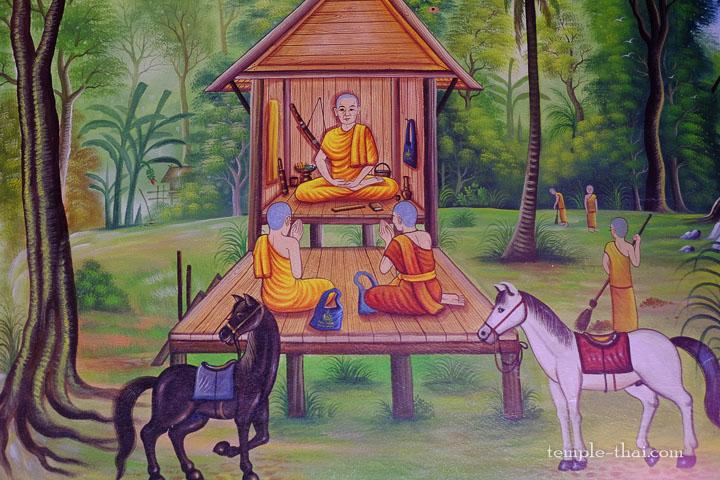 Quelques moines dans une cabane