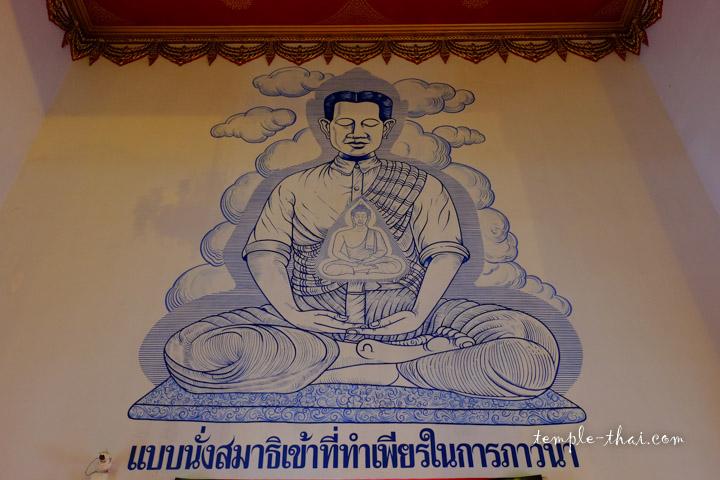 Peinture illustrant l'approche méditative Thammakaya