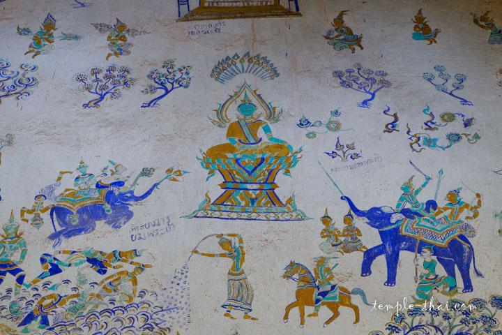 Peinture murale d'un temple bouddhiste