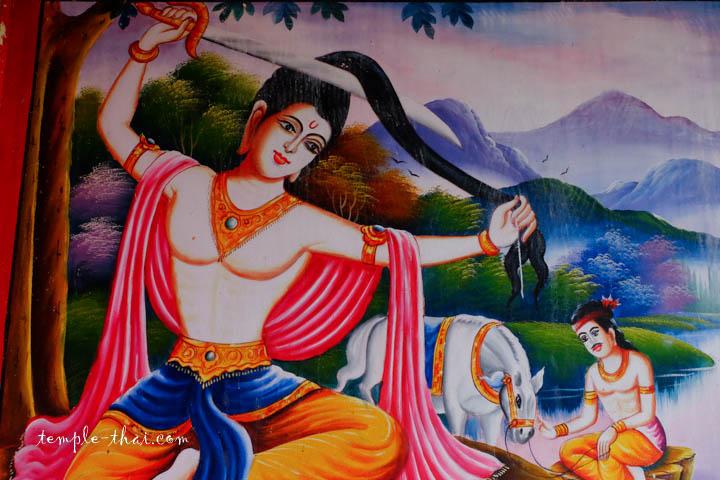 Siddartha coupant ses longs cheveux, signe décisif de son cheminement vers l'éveil spirituel