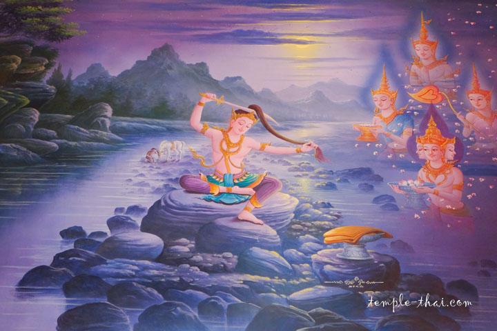 Peinture de Siddartha Gautama coupant ses longs cheveux