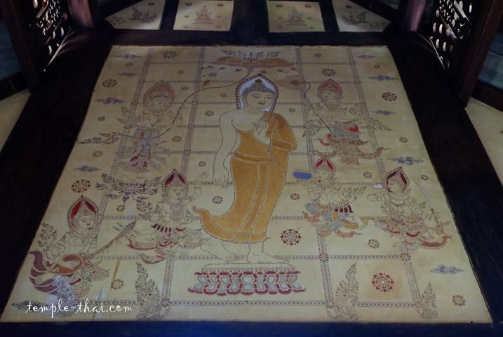 Peinture du Bouddha marchant